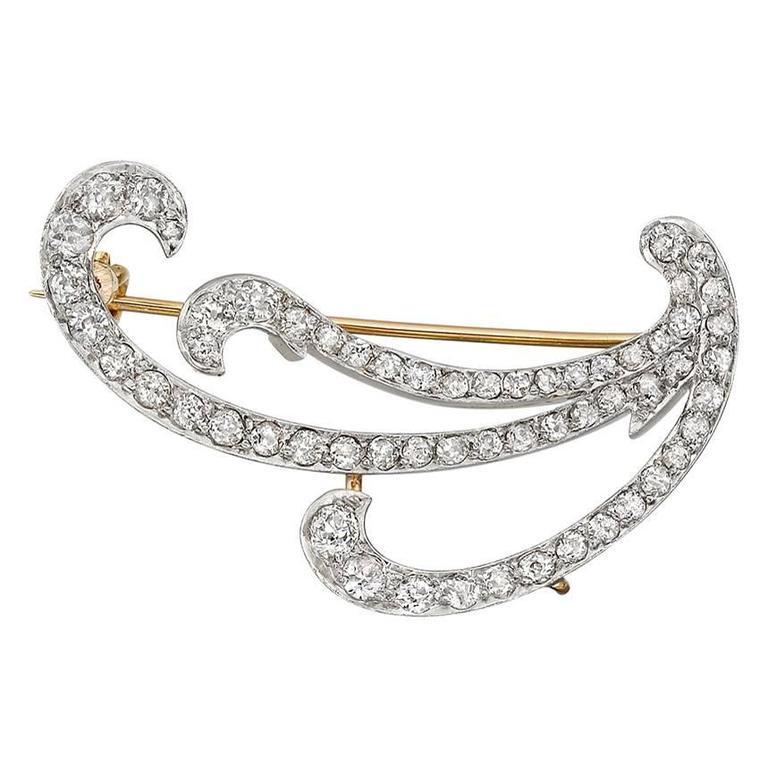 1890s Diamond Swirl Brooch