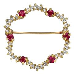 Ruby Diamond Gold Open Scalloped Pin