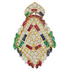 Multicolored Gemstone Diamond Gold Brooch