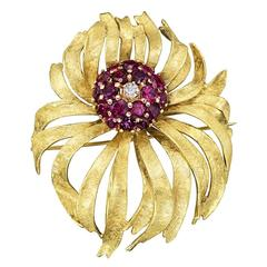 Ruby Diamond Gold Flower Brooch