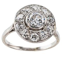 Edwardian Diamond Halo Platinum Ring