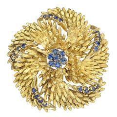 Sapphire Gold Pinwheel Flower Brooch