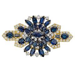 Sapphire Diamond Gold Cluster Brooch