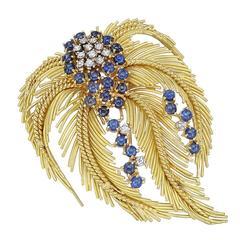 Sapphire Diamond Gold Feather Brooch