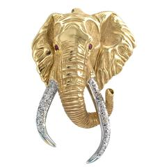 Large Elephant Brooch Pendant