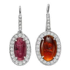Fred Leighton Garnet Intaglio and Diamond Drop Earrings