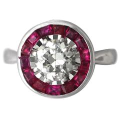 1950s Diamond & Ruby White Gold Cocktail Ring