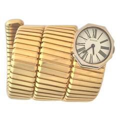 Bulgari Lady's Yellow and White Gold Tubogas Bracelet Wristwatch
