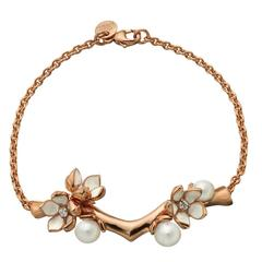 Shaun Leane Rose Gold Vermeil Branch Bracelet with Diamonds and Pearls