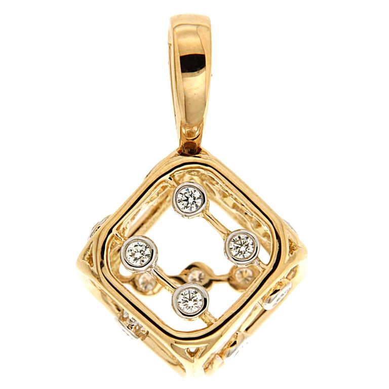 Valentin Magro Diamond Gold Dice Pendant (Small)
