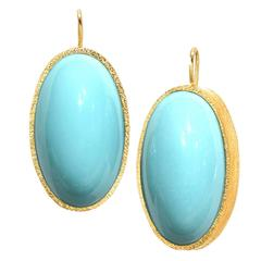 2016 Devta Doolan Oval Persian Turquoise Cabochon Gold Handmade Drop Earrings