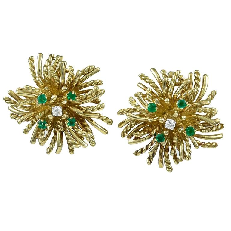 TIFFANY & CO. Anemone Emerald and Diamond Gold Ear Clips
