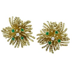 TIFFANY & CO. Anemone Emerald and Diamond Gold Ear Clips