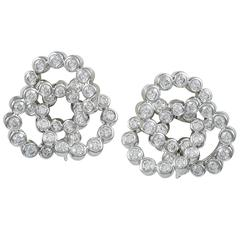 VERDURA Diamond and White Gold Trefoil Earrings