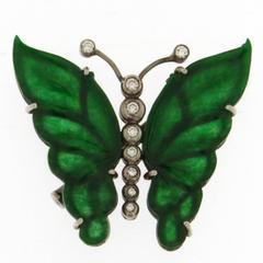 Jona Jadeite White Diamond 18k White Gold Butterfly Brooch