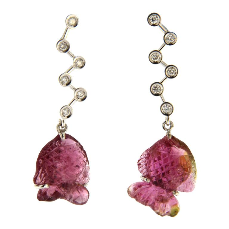 Jona Engraved Pink Tourmaline Fish 18k White Gold White Diamond Dangle Earrings