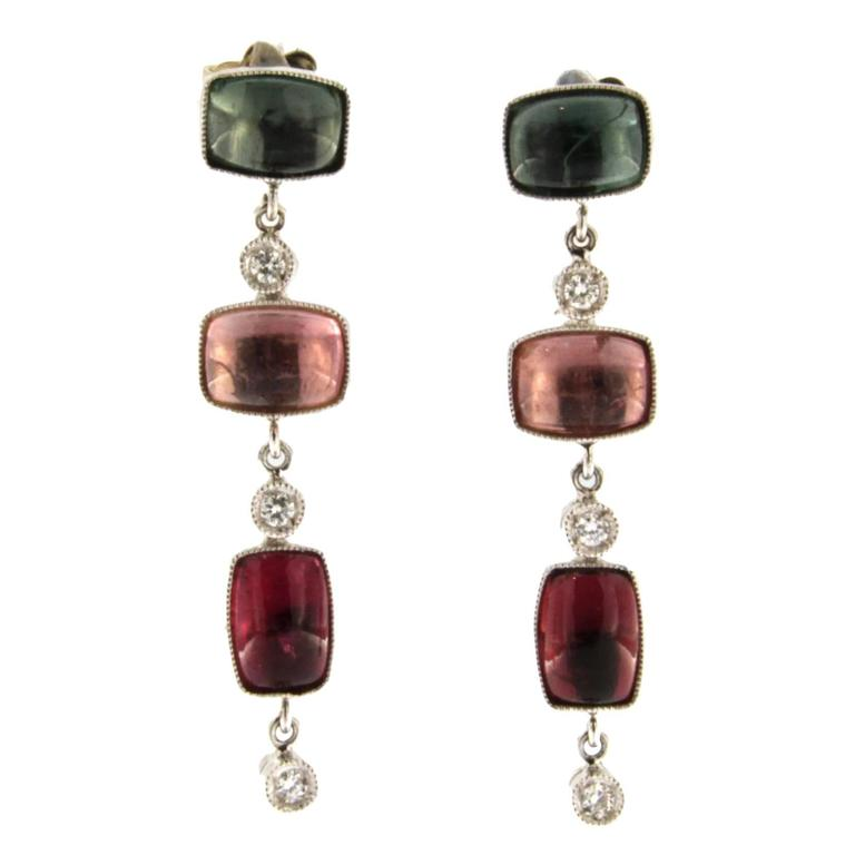 Jona Multicolor Tourmaline Diamond Gold Dangle Earrings For Sale