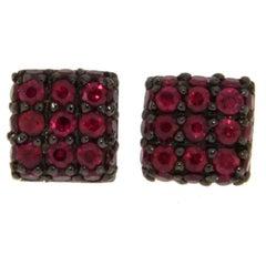 Jona Ruby 18 Karat White Gold Square Stud Earrings