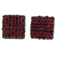 Jona Ruby 18 Karat White Gold Square Stud Earrings