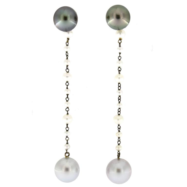 Jona South Sea Pearl 18 Karat White Gold Dangle Earrings