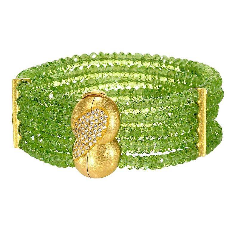 Eva Steinberg Germany Green Peridot Diamond Multistrand Artisan Bracelet For Sale