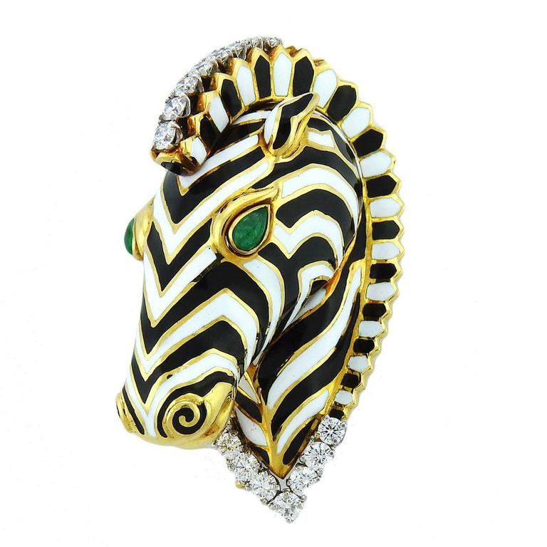 David Webb Enamel Emerald Diamond 18K Gold Platinum Zebra Brooch