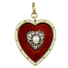 Antique Enamel, Diamond and Pearl Heart Drop