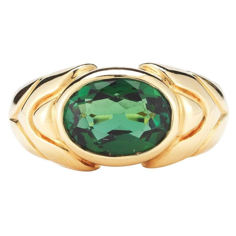 Bulgari Green Tourmaline Gold Ring