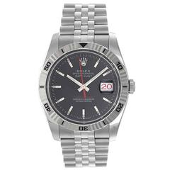 Rolex White Gold Stainless Steel Turnograph Datejust Automatic Wristwatch