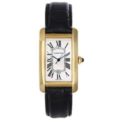 Cartier Yellow Gold Tank Americaine Automatic Wristwatch Ref W2603156
