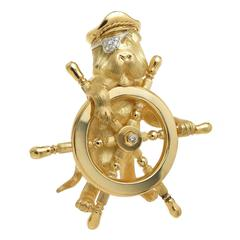Henry Dunay Diamond Gold Large Captain Sea Dog Brooch