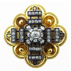 Remarkable Condition Victorian Rose and Mine Cut Diamond Brooch Pendant