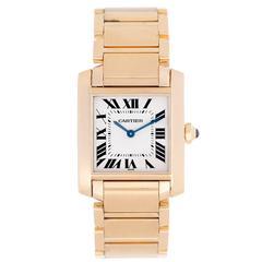 Cartier Yellow Gold Tank Francaise Quartz Wristwatch Rev W50014N2