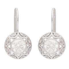 0.71 and 0.75 Carat GIA Certified Diamond Gold Drop Earrings
