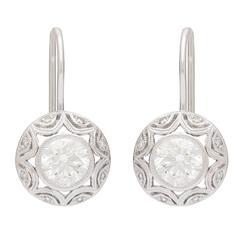 0.71 and 0.75 Carat GIA Certified Diamond Gold Drop Earrings