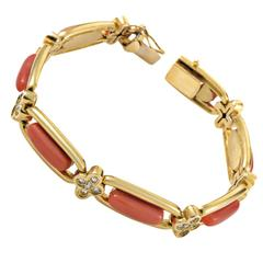 Coral Diamond Gold Bracelet