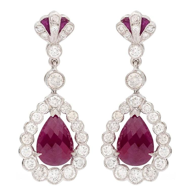 Burmese Ruby Gold Briolette Earrings