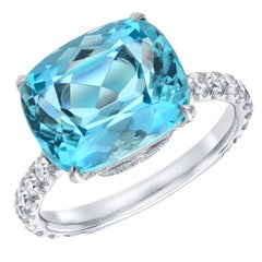 Aquamarine Diamond Platinum Ring 5.11 Carat Cushion Tamir