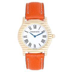 Tiffany & Co. Lady's Yellow Gold Orange Leather Band Quartz Wristwatch