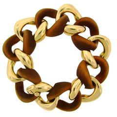 Seaman Schepps Wood Gold Link Bracelet