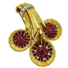 1942 Cartier Ruby Diamond Gold Clip Pin Brooch