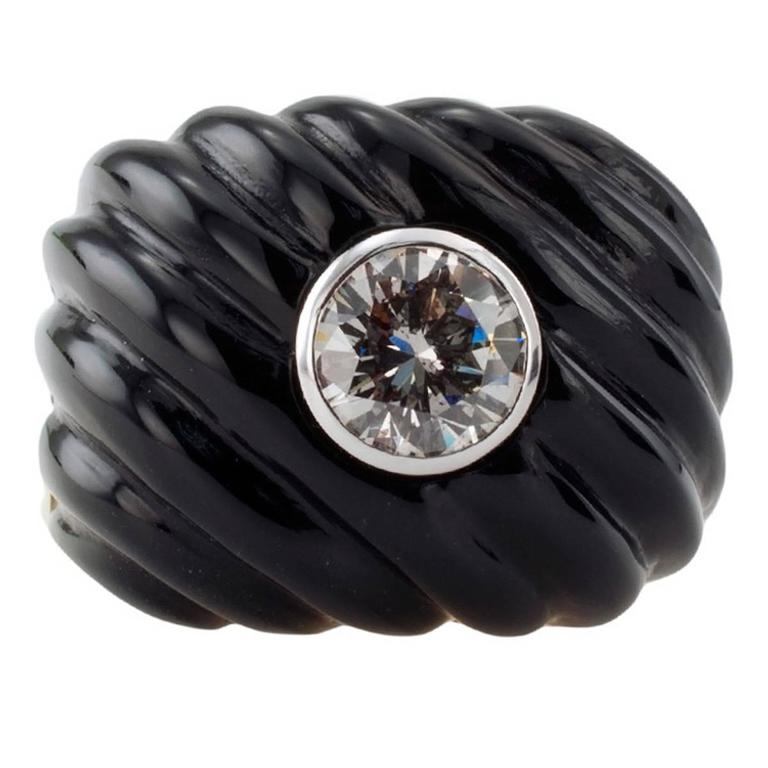 Carved Black Jade and Diamond Gold Ring For Sale