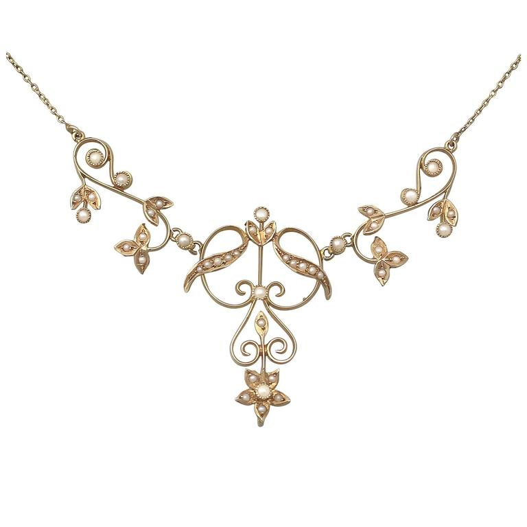 Pearl and 14k Yellow Gold Necklace - Art Nouveau - Antique Circa 1900