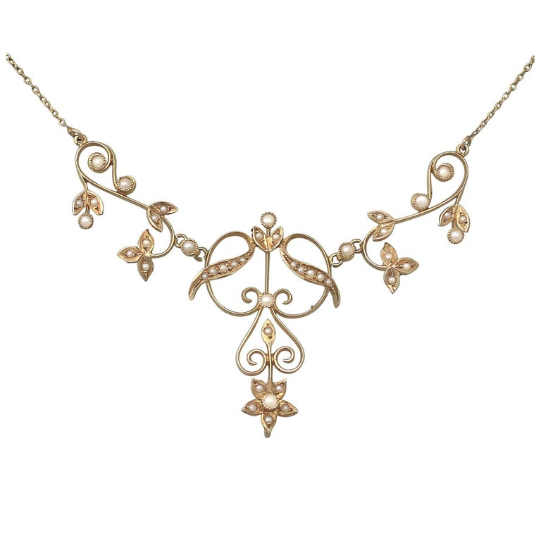 Pearl and 14k Yellow Gold Necklace - Art Nouveau - Antique Circa 1900 For Sale