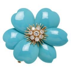 Van Cleef & Arpels Turquoise Diamond Gold Flower Brooch