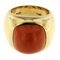Jona Coral Gold Band Ring