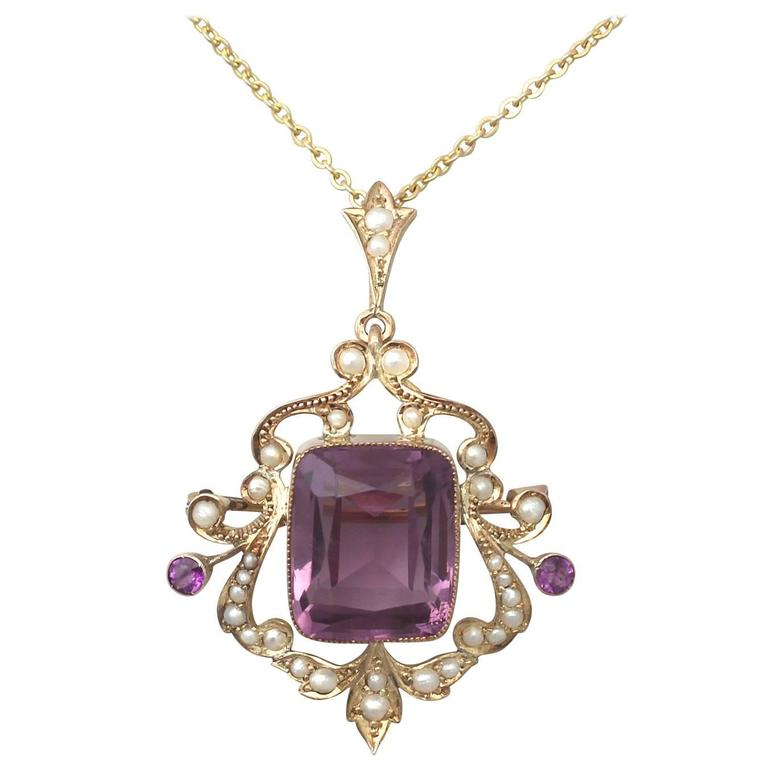 11.09Ct Amethyst and Pearl, 9k Yellow Gold Pendant - Antique Circa 1910