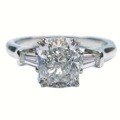 Harry Winston 1.70 Carat GIA Cert Cushion Diamond Platinum Ring