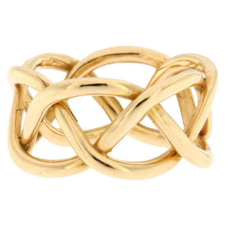 Jona 18 Karat Yellow Gold Twisted Band Ring For Sale