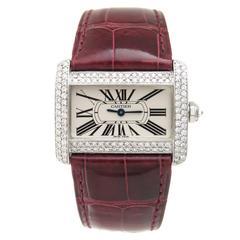 Cartier Stainless Steel Diamond Tank Divan Quartz Wristwatch